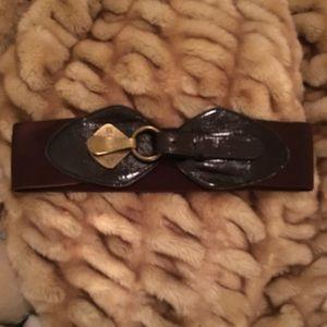 Anthropologie adjustable brown elastic belt O/S